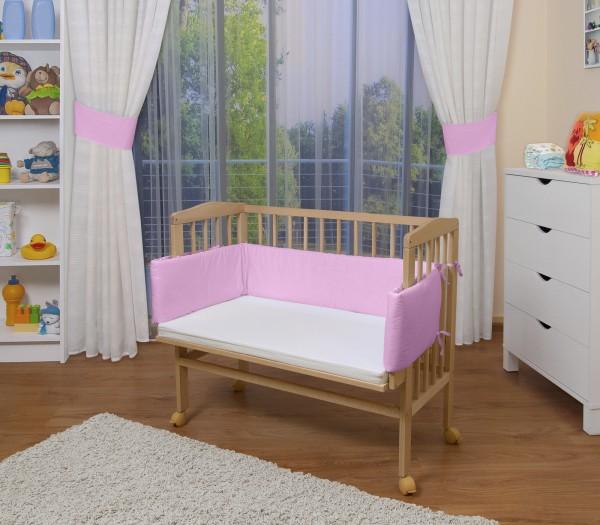 WALDIN Baby Beistellbett mit Matratze, höhen-verstellbar,Holz natur oder weiß lackiert,8 Farben wähl