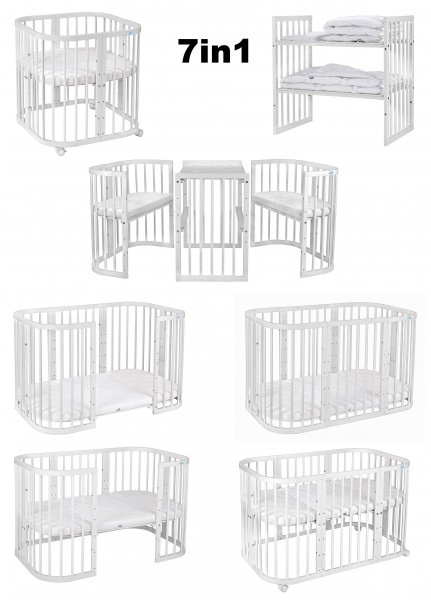 WALDIN Kinderbett Set, 7in1 mit Matratze, höhen-verstellbar, Buche Massiv-Holz weiß lackiert