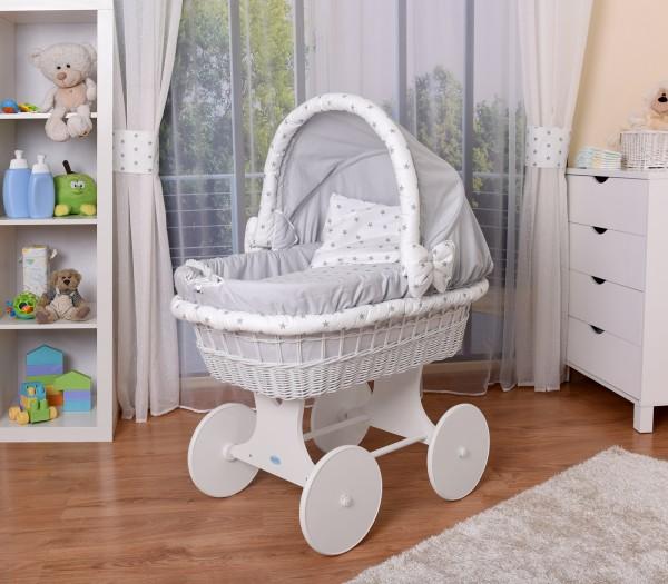 WALDIN Baby Stubenwagen-Set mit Ausstattung,XXL,Bollerwagen,komplett,26 Modelle wählbar,Gestell/Räde