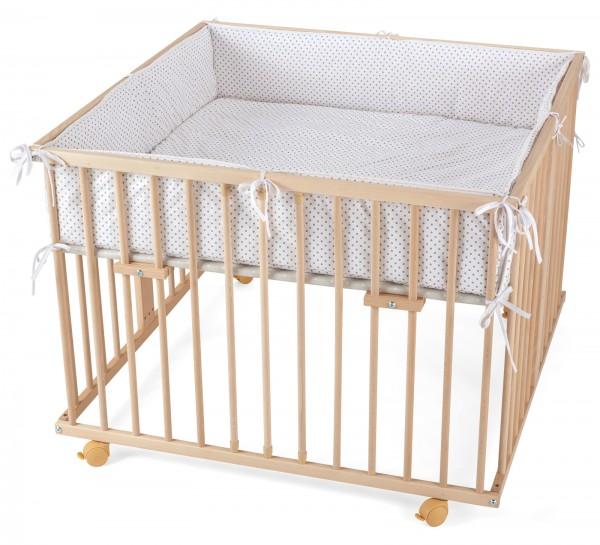 WALDIN Baby Laufgitter Laufstall ca. 100x100 BUCHE MASSIV natur unbehandelt mit Nestchen