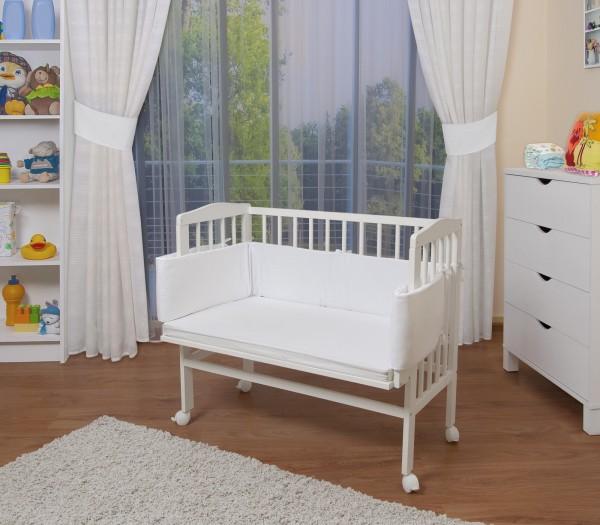 WALDIN Baby Beistellbett mit Matratze/Nestchen, höhen-verstellbar,Große Liegefläche 90x55, weiß