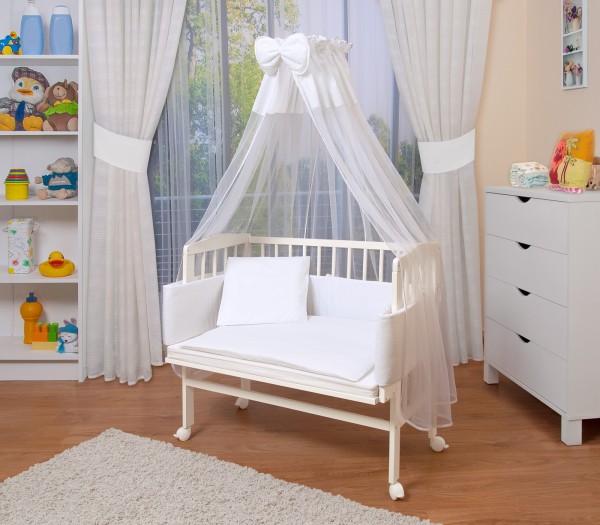 WALDIN Baby Beistellbett mit Matratze/Nestchen,höhen-verstellbar,16 Modelle wählbar, Buche Massiv