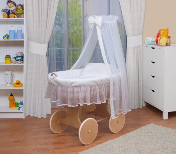 Stoffe Weiß WALDIN Baby Bollerwagen Stubenwagen komplett mit Zubehör XXL