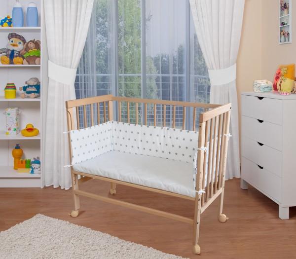WALDIN Baby Beistellbett mit Matratze und Nestchen,4te Seite abnehmbar, höhen-verstellbar, Holz natu